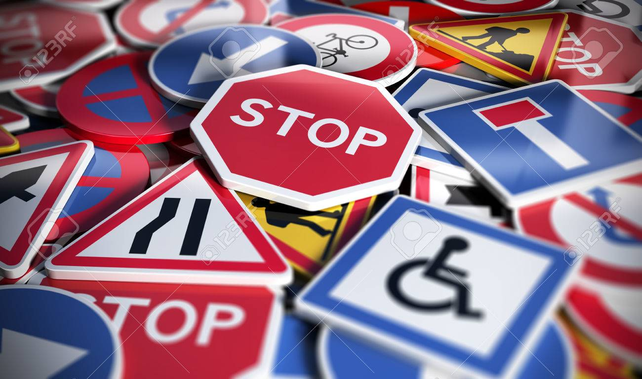 Perspetive view of numerous french traffic road signs. Concept image for background, 3D illustration - 60183315