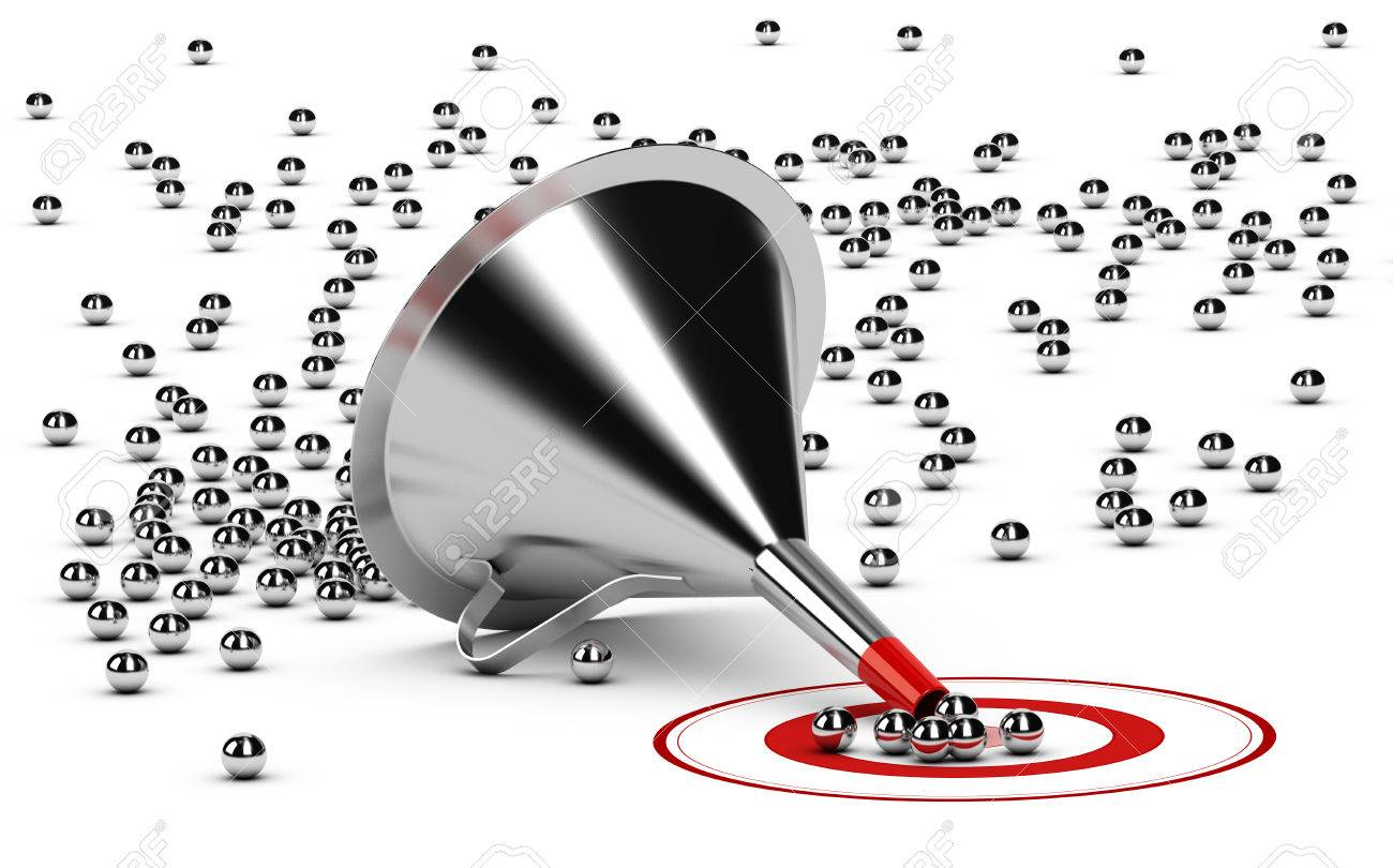 3D illustration of a sales funnel over white background with metal spheres in the center of a red target. - 63778481