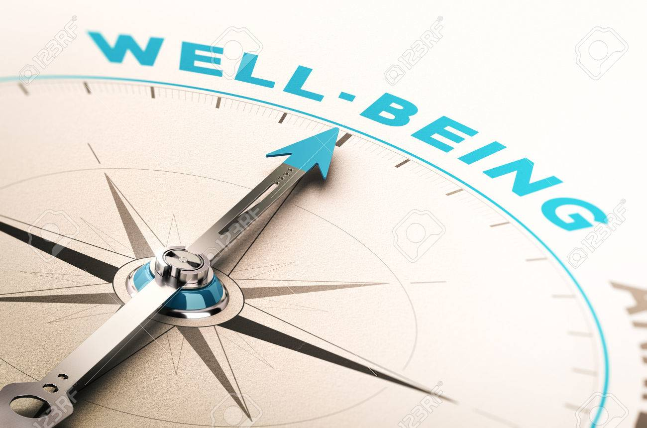 Compass with needle pointing the word well-being. 3D illustration with blur effect. Concept of wellbeing or wellness Stock Illustration - 65823088