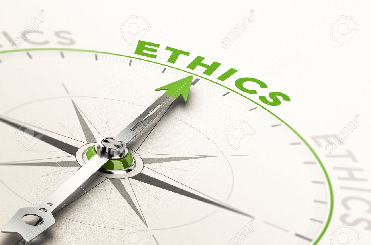 compass with needle pointing the word ethics. Conceptual 3d illustration of business integrity and moral Stock Illustration - 68348972