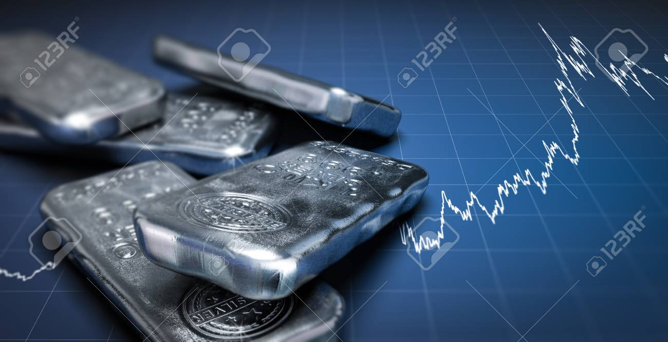 3D illustration of silver bullion bars over a blue background with growing chart. Commodities investment concept, horizontal image. - 69655363