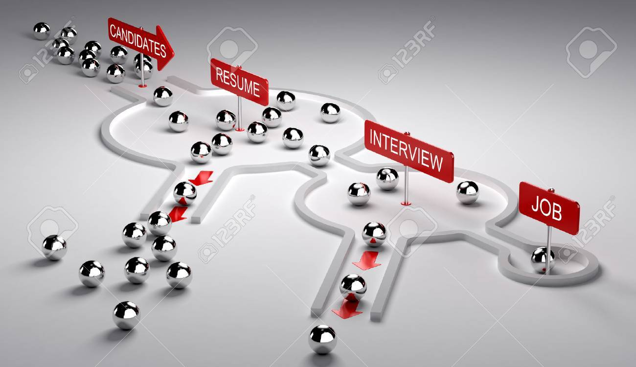 3D illustration of candidates recruitment process. Applicants enters by the left then pass three steps resume, interview and finaly get the job, horizontal image - 67862650