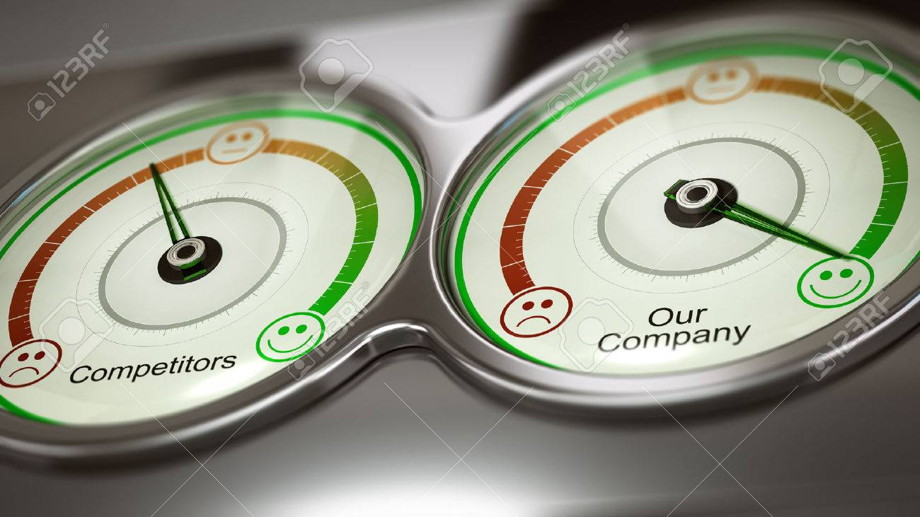 Conceptual 3D illustration of two gauges with text competitors and our company to measure performance, horizontal image. Concept of business benchmark or comparative advertising - 70820417