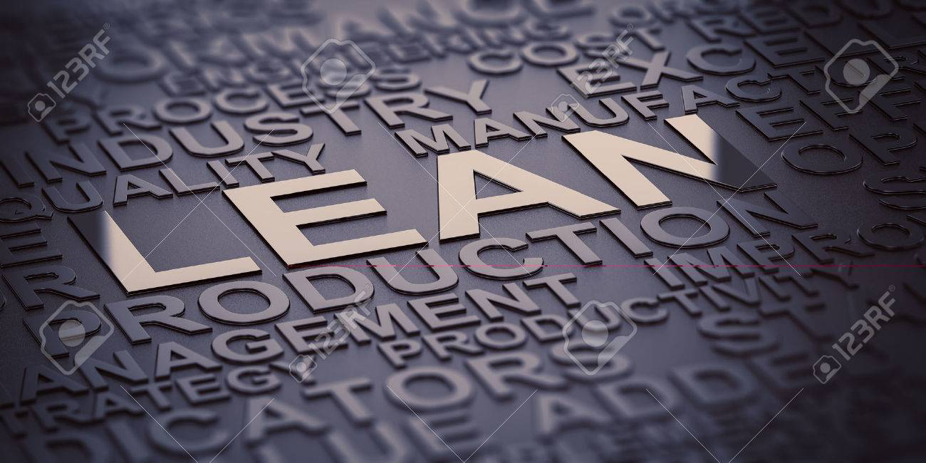 Many words over black background with reflection and blur effect, focus on the words lean and production. 3D illustration of production management. - 73640007