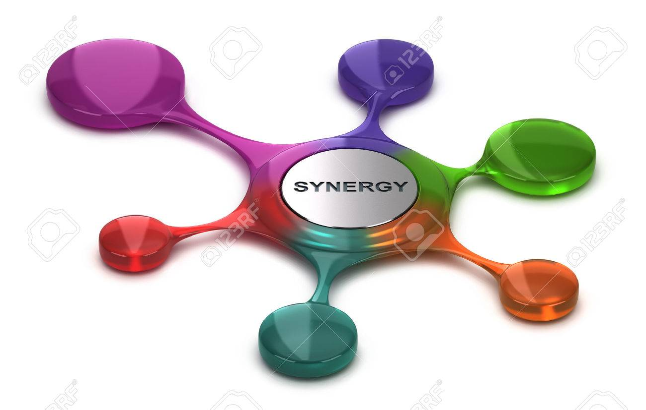 Synergy symbol over white background. Concept of team building or cohesion. 3D illustration - 75551858