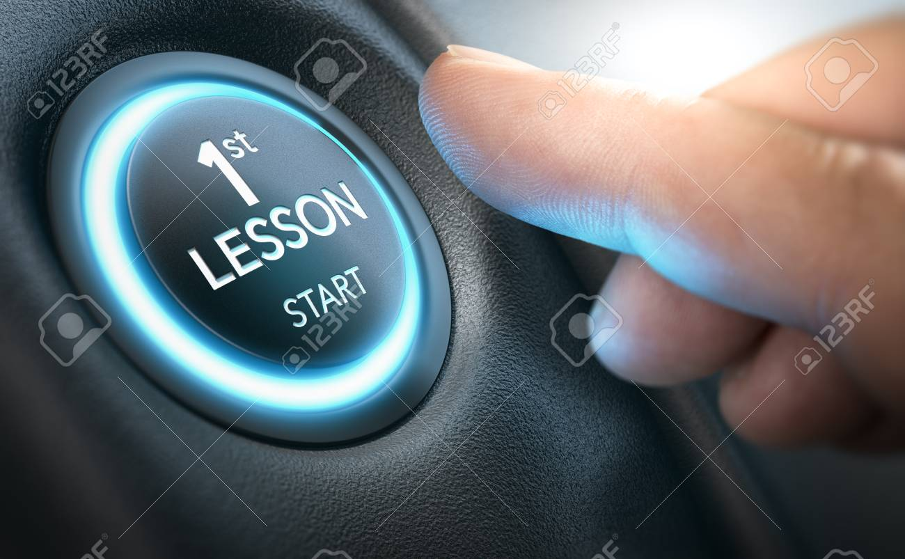 Beginner about to start a car by pressing a starter button where it is written first lesson. Composite image between a hand photography and a 3D background. - 86687188