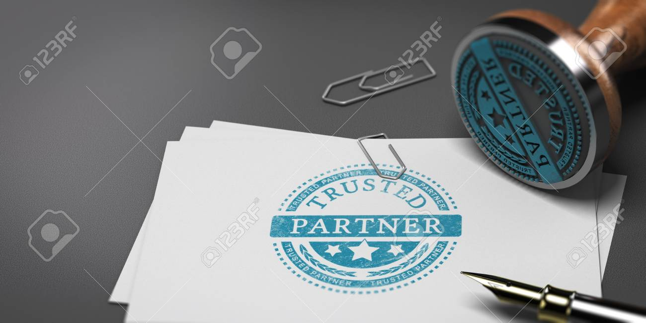 3D Illustration Of Business Cards With The Text Trusted Partner ...