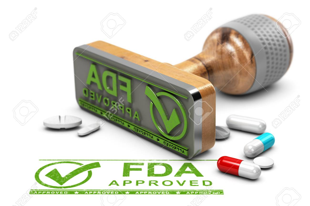 Drugs approval concept. Rubber stamp with the text FDA approved and pills over white background. 3D illustration - 97240427