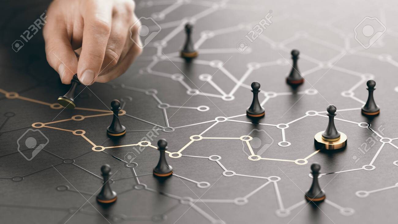 Hand moving pawn on a conceptual maze. Shortcut to success or career guidance concept. Composite image between a hand photography and a 3D background. - 137877946