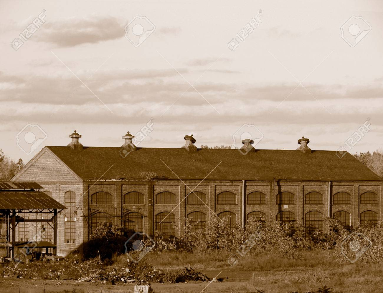 Old steel mill building in sepia Stock Photo - 1703771