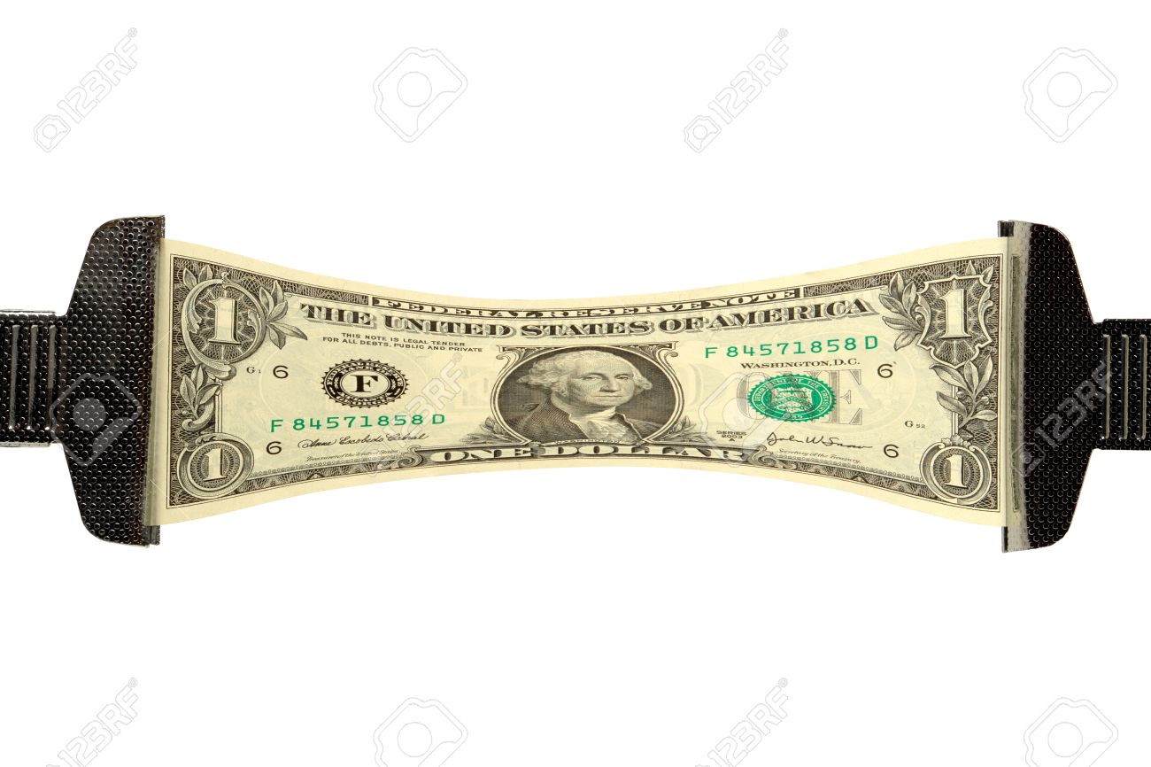 One dollar bill stretched over white background Stock Photo - 1703768