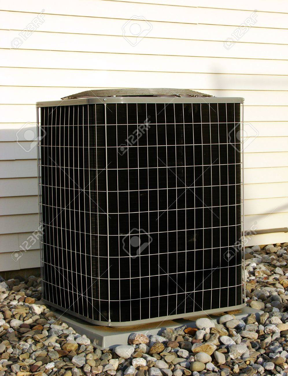 Residential air conditioner outside compressor and condenser unit Stock Photo - 2226869