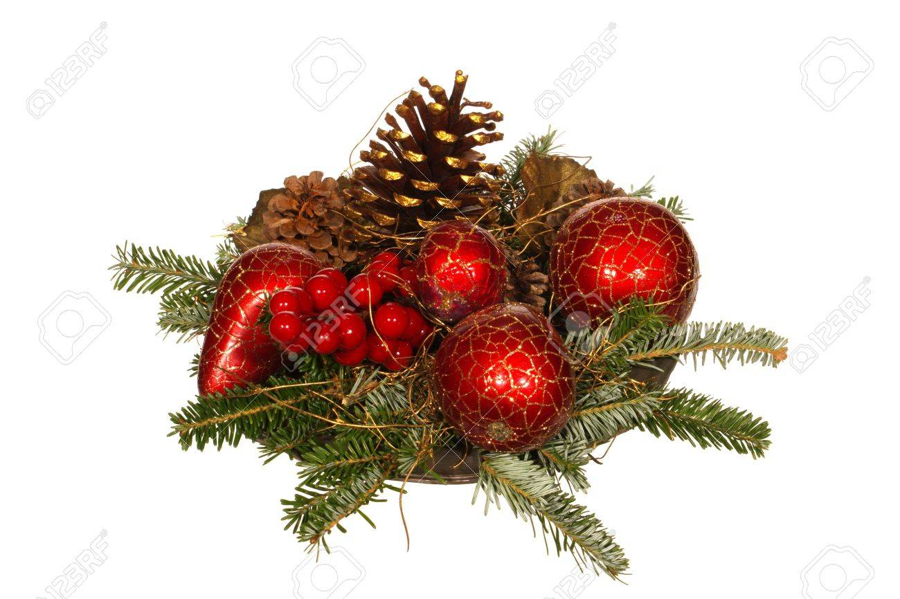 Old Fashioned Christmas Decoration With Pine Branch, Pine Cones And Berries  On A Tin Plate