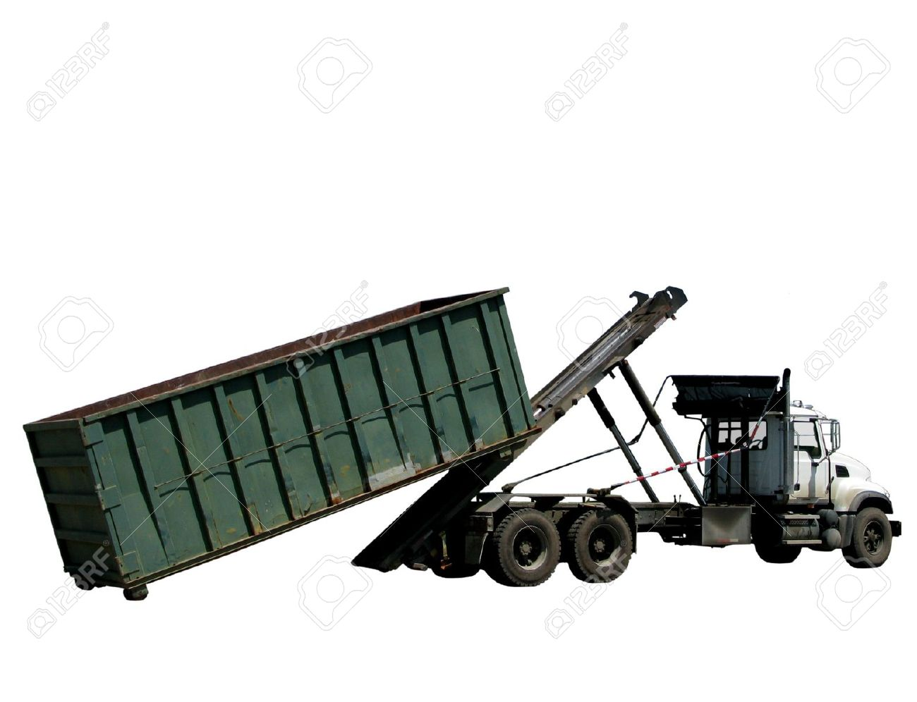Truck loading or unloading a roll-off trash dumpster container Stock Photo - 3029574