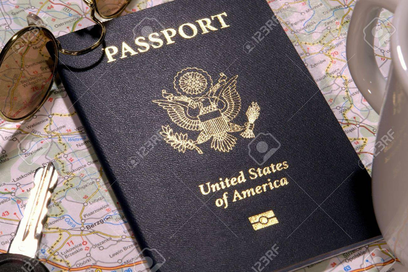 United States of America new electronic passport book in foreign travel concept setting Stock Photo - 3794995
