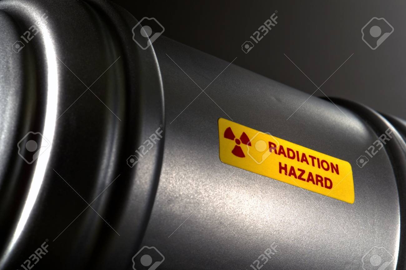 Nuclear radioactive material metal container with radiation hazard warning label Stock Photo - 5149267