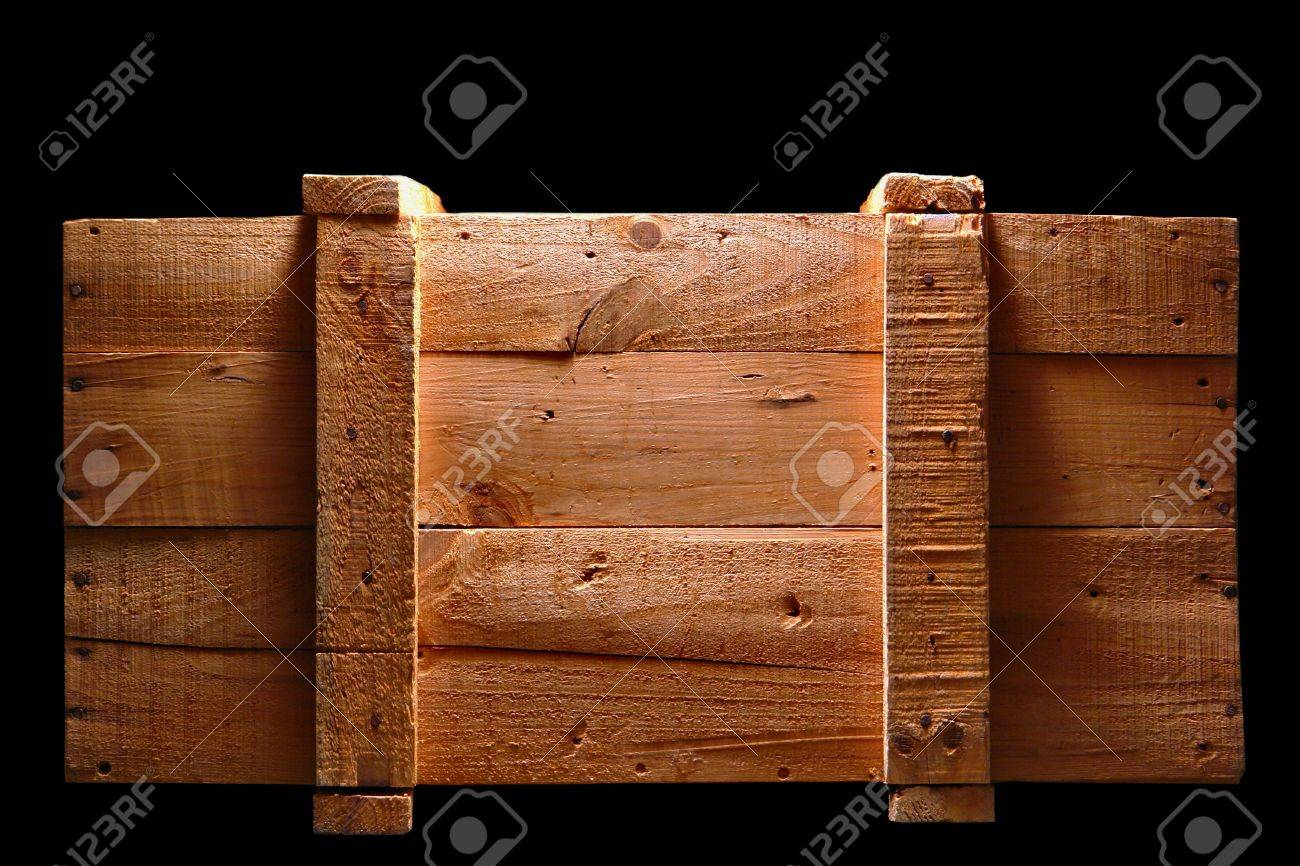 Old distressed wood shipping crate isolated on black Stock Photo - 6564185