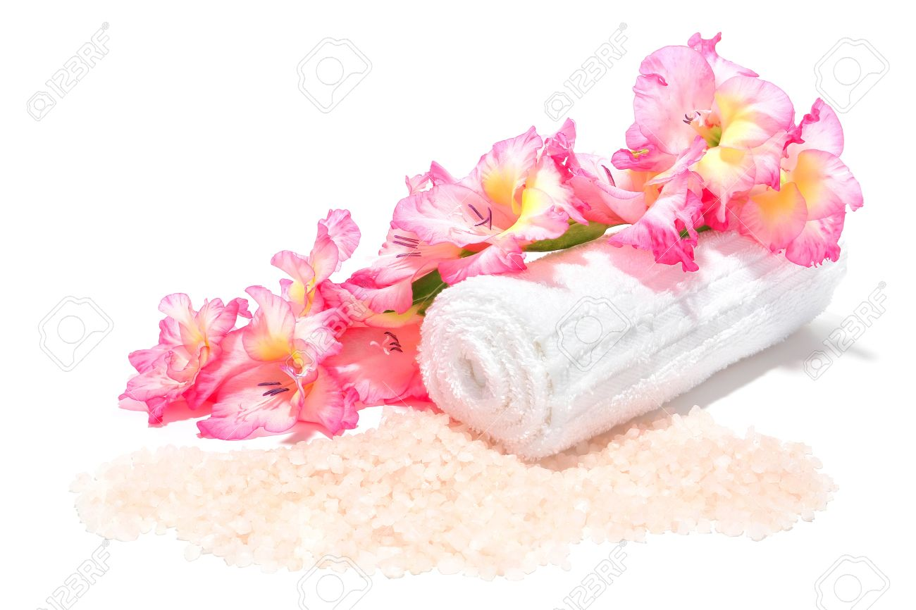 Scented aromatherapy bath salts with fresh pink gladiolus flowers scented aromatherapy bath salts with fresh pink gladiolus flowers and soft white towel for a relaxing mightylinksfo