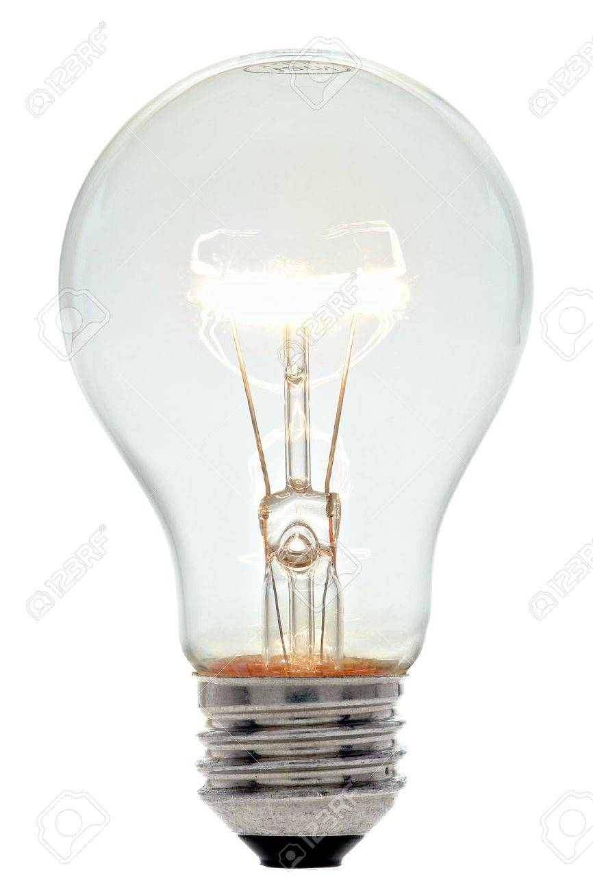 Bright Clear Glass Lit Incandescent Electric Light Bulb With ...