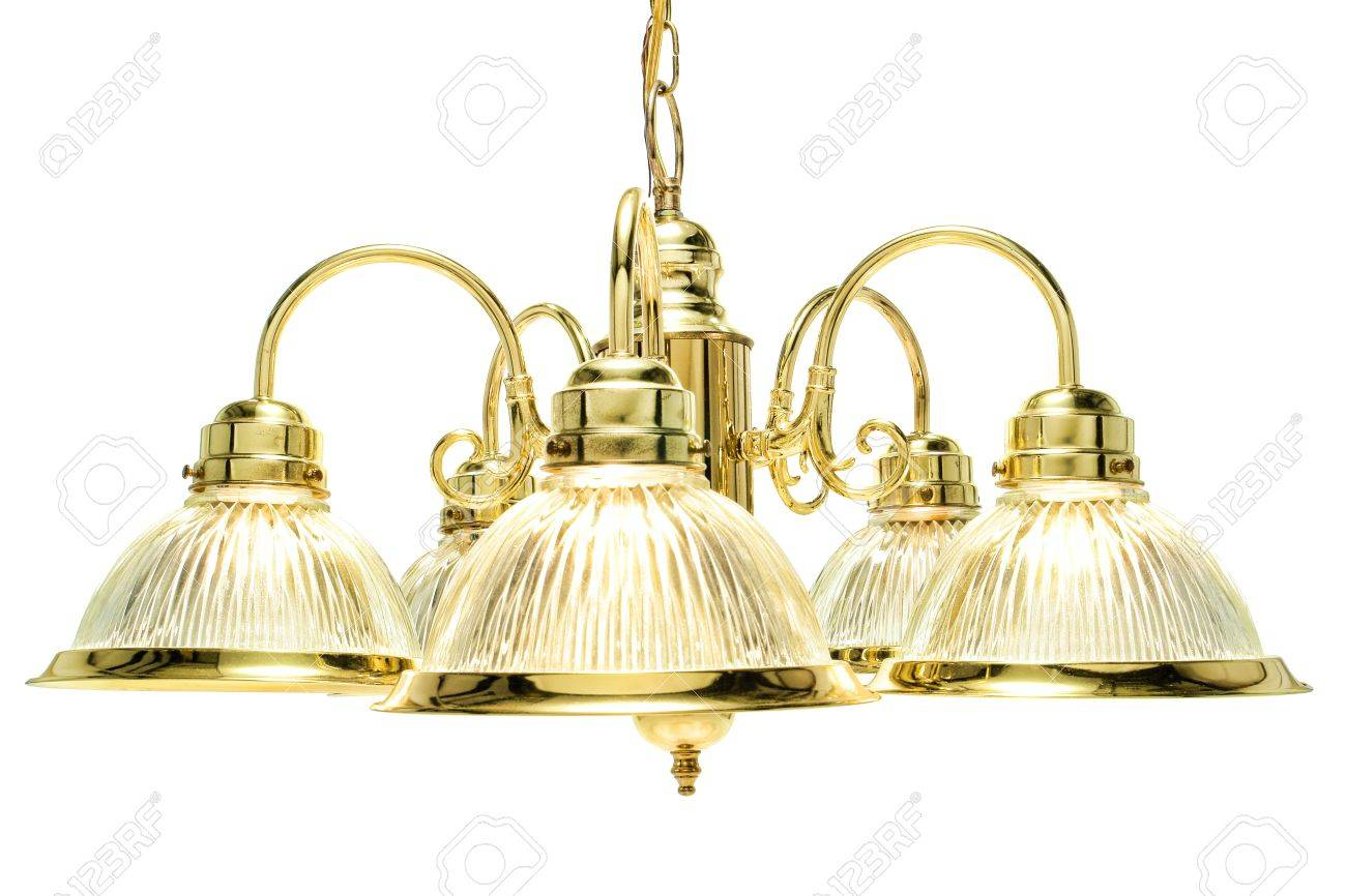 Classic Style Home Dining Room Bright Brass With Glass Shades - Dining room light fixture glass