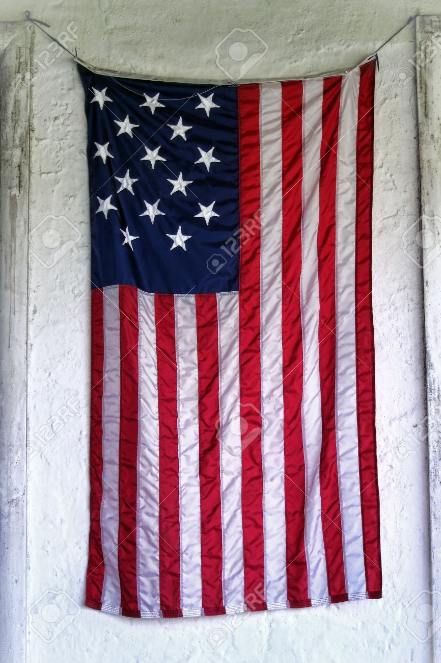 Hang Flag On Wall grunge old usa antique american flag with fifteen stars hanging