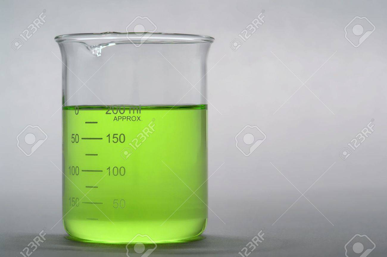 scientific beaker filled with liquid for an experiment in a science