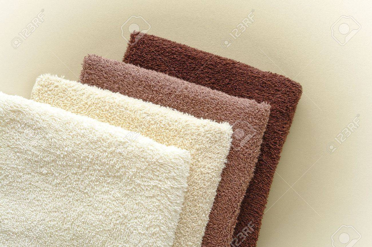 soft and fluffy cotton hotel quality bath towels in light beige