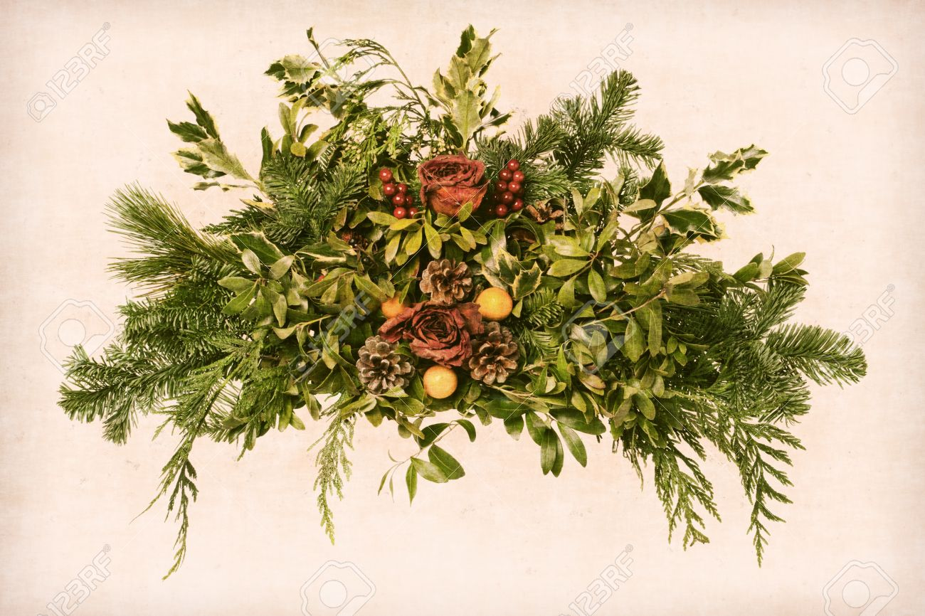 Christmas Flower Arrangements.Grunge Vintage Victorian Christmas Floral Arrangement Decoration