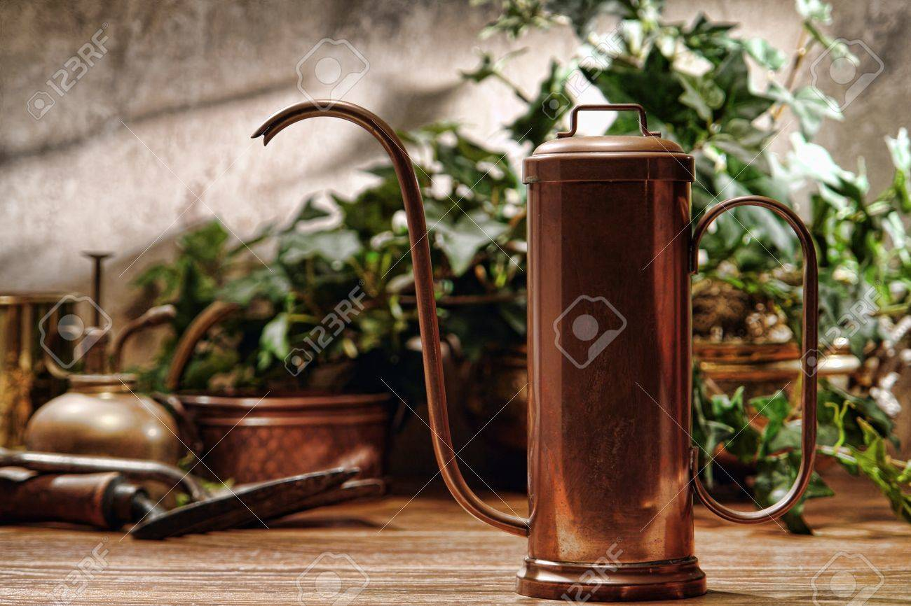 Antique Copper Watering Can And Old Gardening Tools In A Retro Garden  Greenhouse Stock Photo