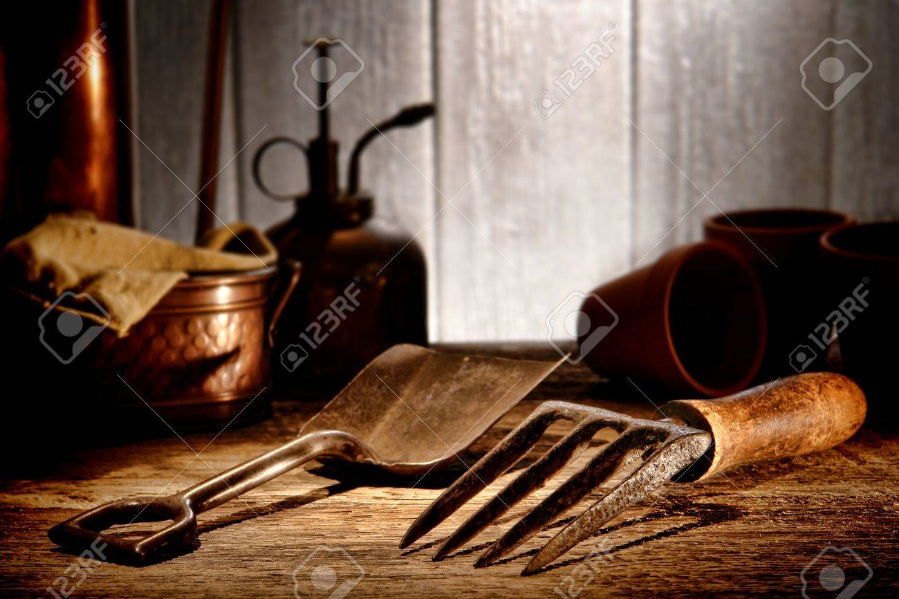 Stock Photo   Vintage Gardening Tools Steel Spading Fork And Metal Shovel  On Aged Wood Potting Table In An Old Antique Garden Shed