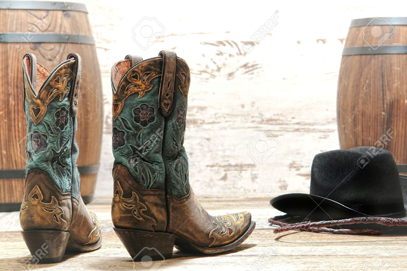 American West Rodeo Cowgirl Designer Leather Boots With Fancy ...