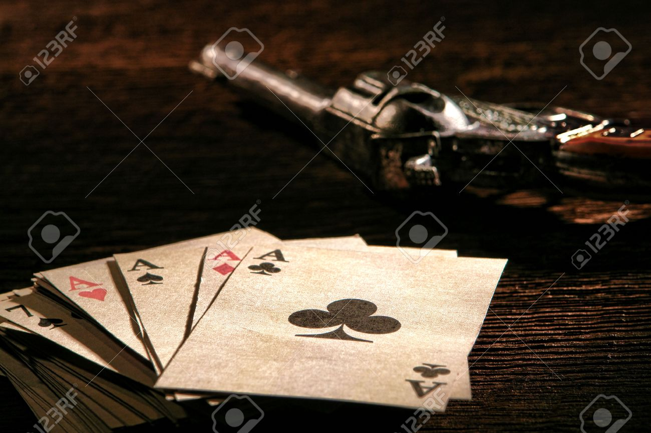 American West Legend poker game stack of cards with four aces