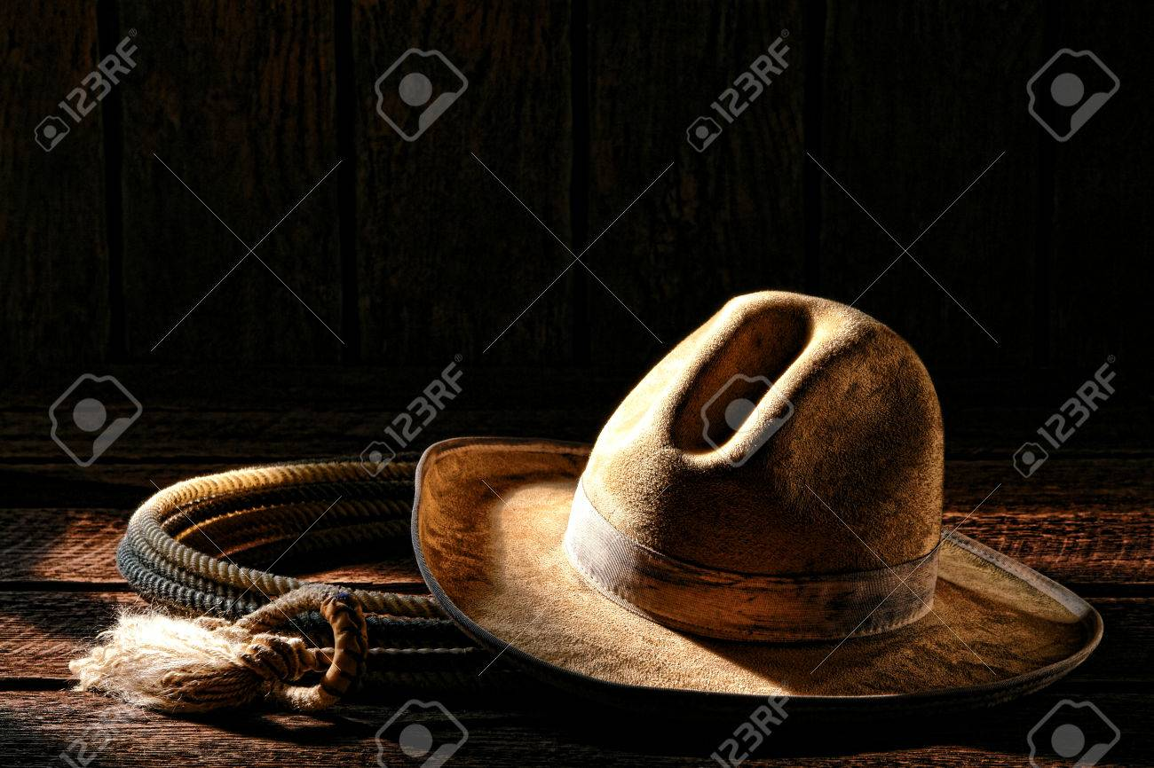 7ef985ed5ac2a American West rodeo cowboy worn and dirty white felt hat with authentic  roping lariat lasso old