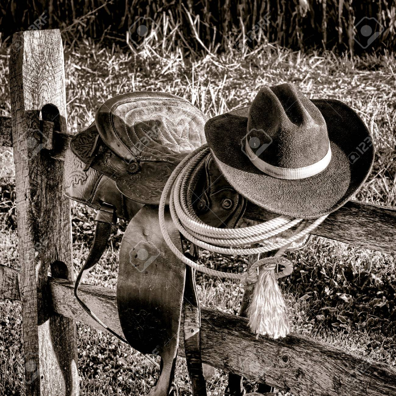 6ca34c602f646 American West Legend rodeo cowboy hat and roping lariat lasso atop an  authentic weathered leather western