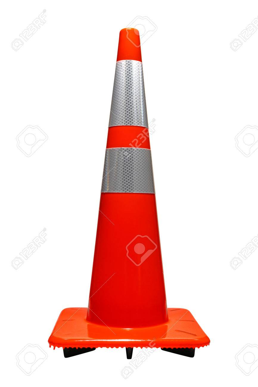 Road And Highway Furniture Device Marker Safety Traffic Cone In Orange  Color With Reflector Isolated On