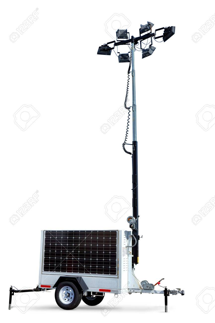 Solar Power Portable Electric Light Tower Mobile Trailer With ...