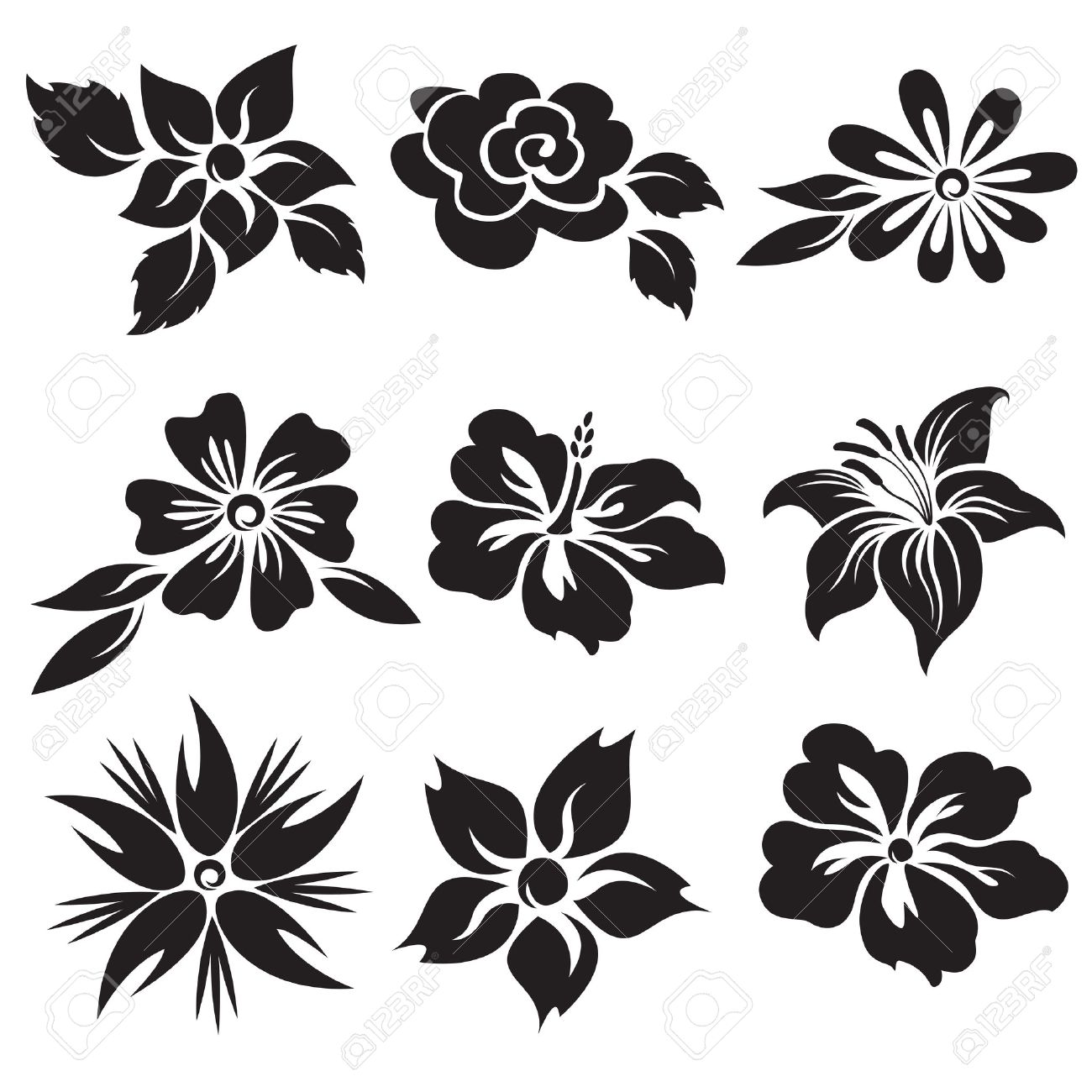 Vector set of black and white flowers royalty free cliparts vector vector set of black and white flowers mightylinksfo