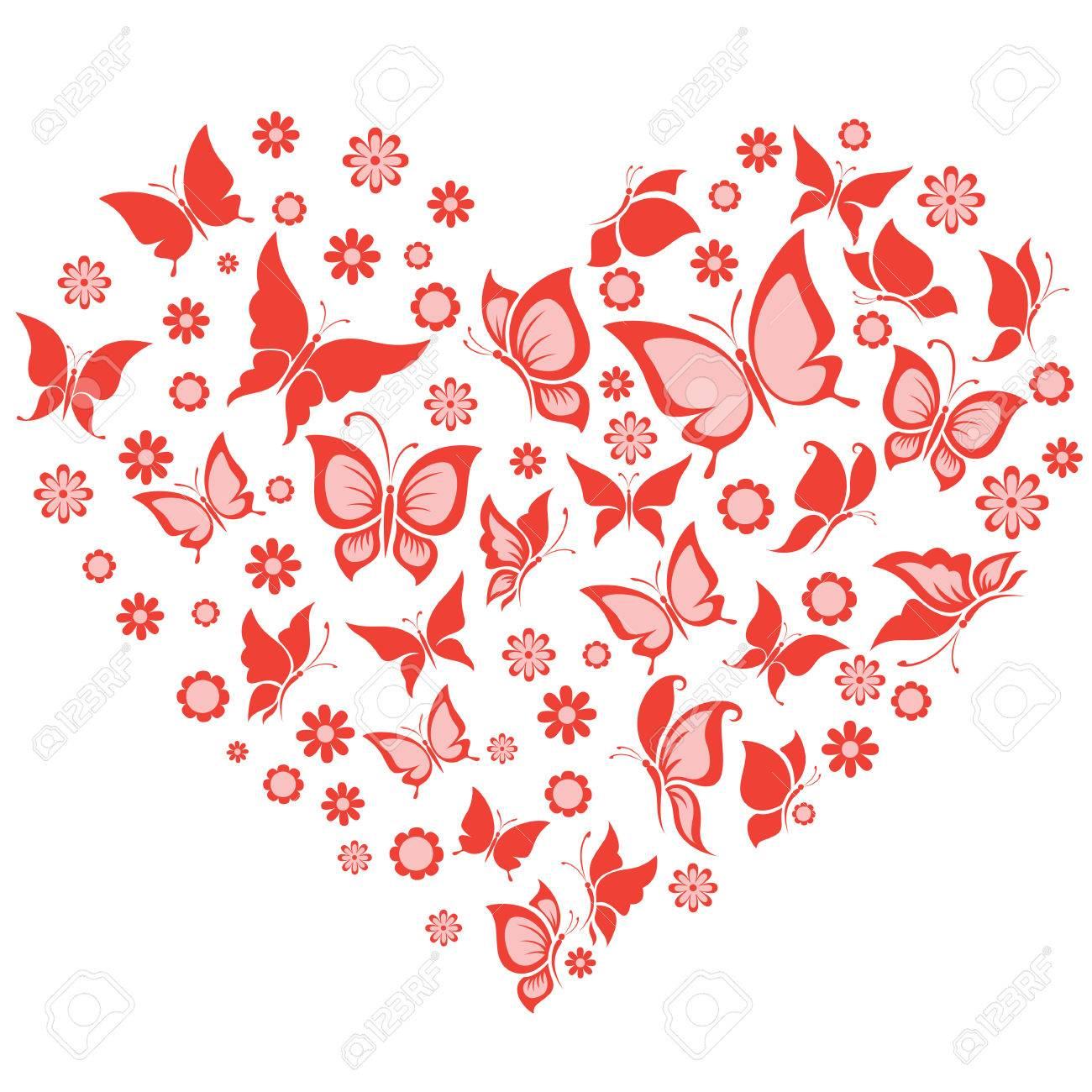 Vector Illustration Of The Butterfly And Flowers In Heart Shape