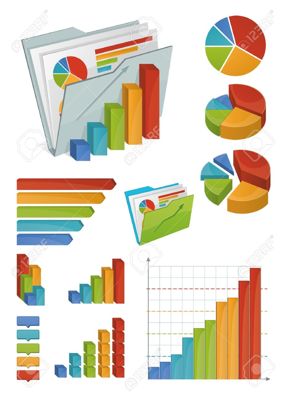 icons of various charts  diagrams and graphs all made with bright    vector   icons of various charts  diagrams and graphs all made   bright gradients objects organized in groups