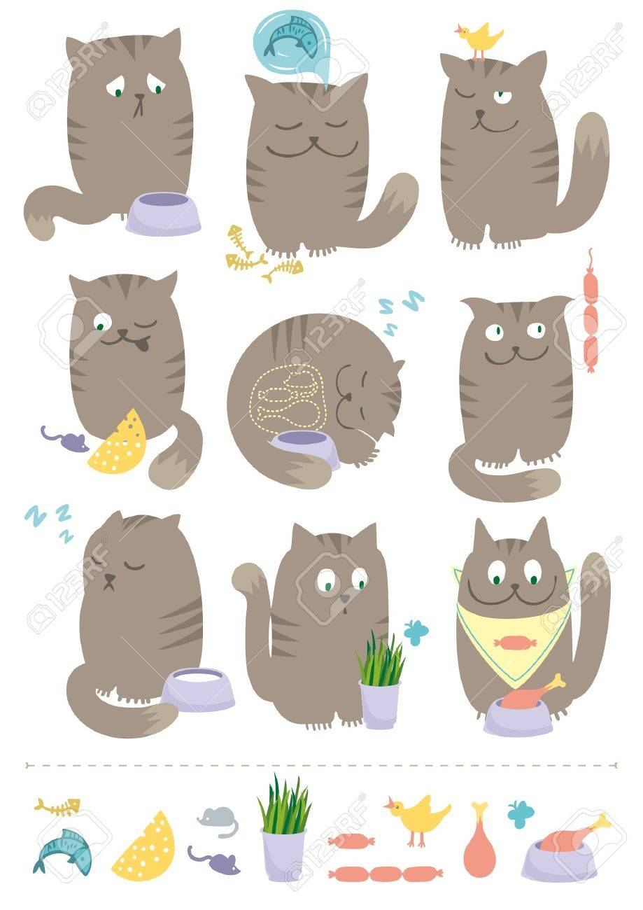 Сute and playful cats are eating, hunting, sleeping, dreaming about foods. Stock Vector - 13506228