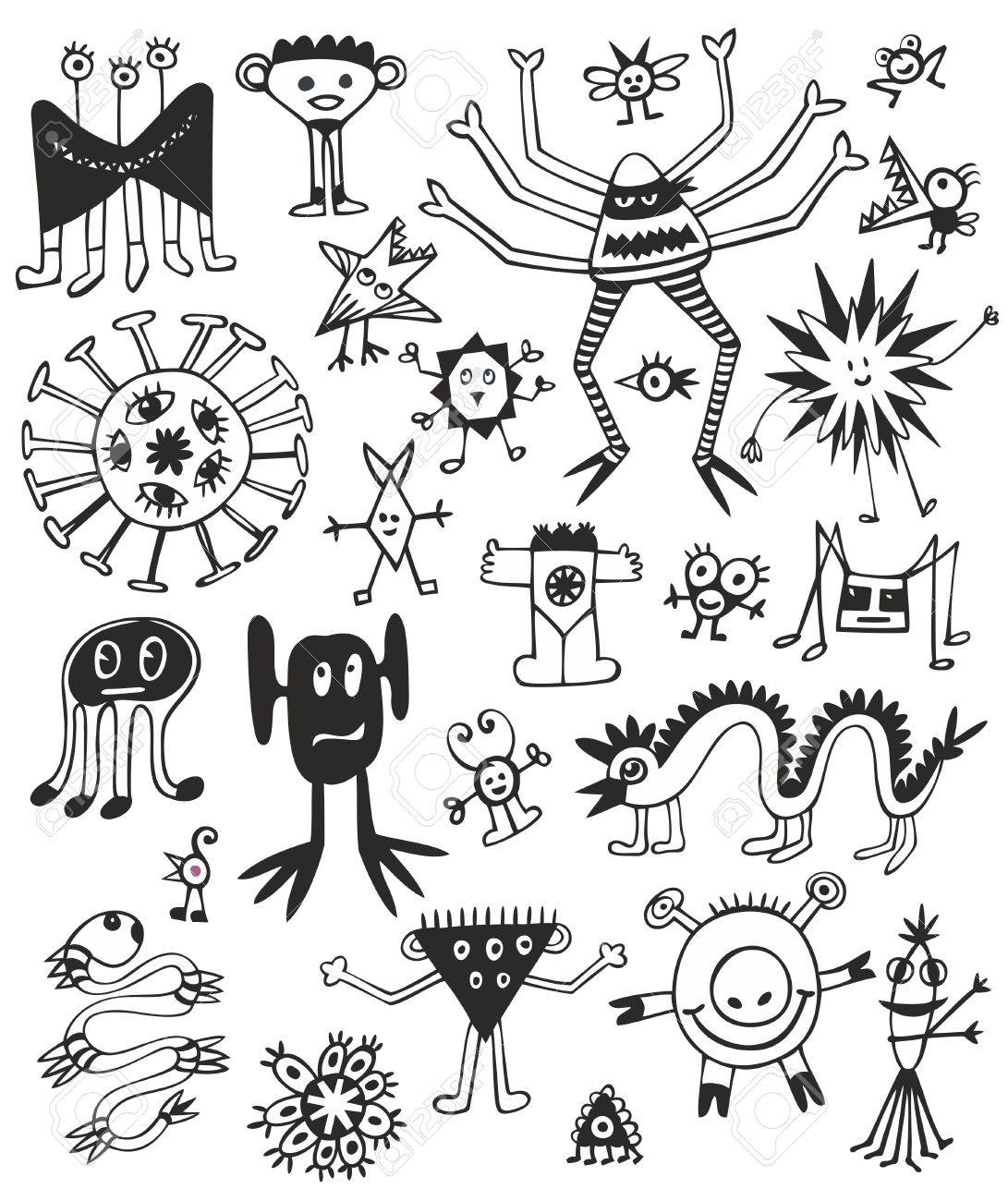 Funny Cute Black And White Monsters Stock Vector - 14780110