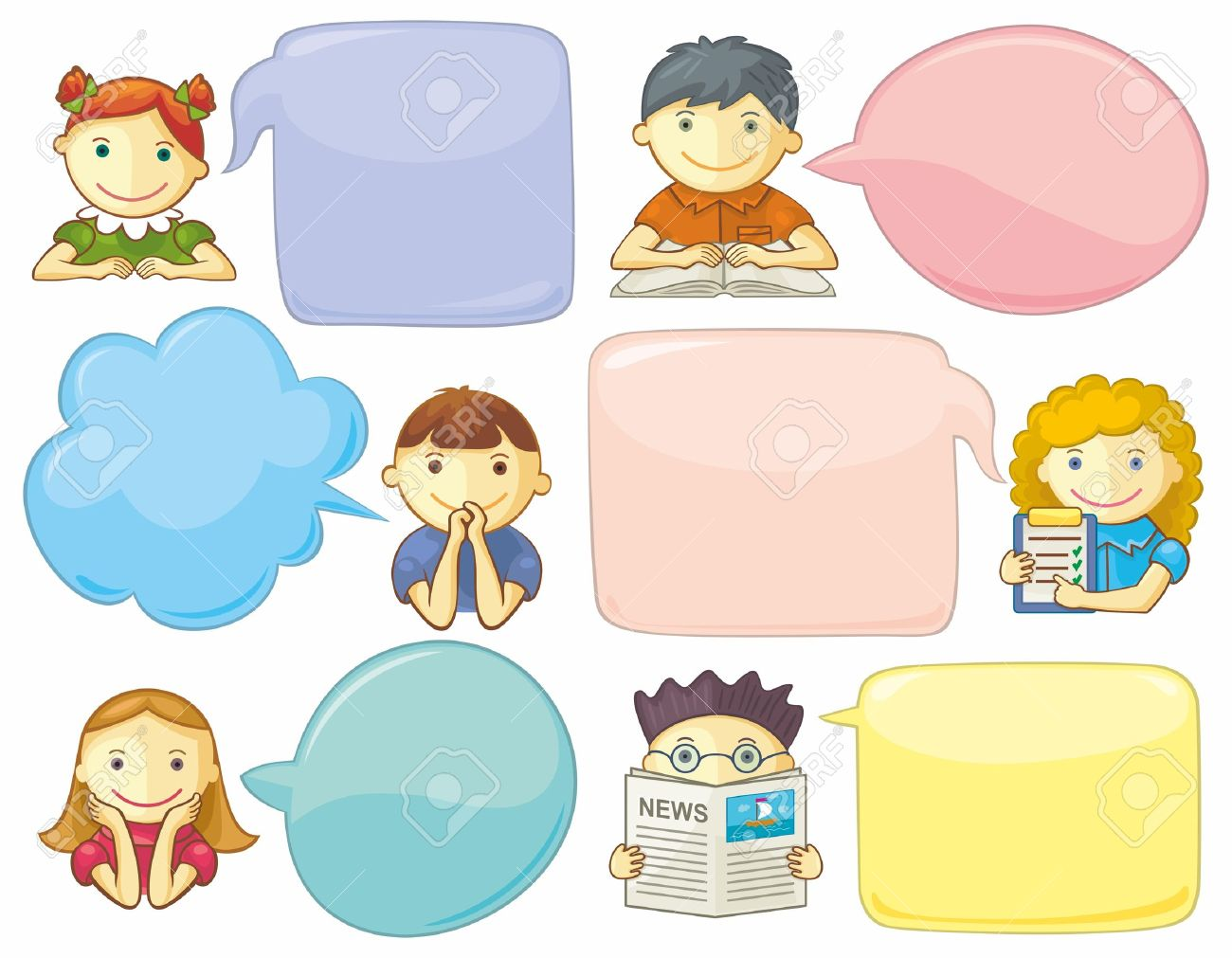 Icons with speech bubbles. Social media concept of communication. Templates for web. - 18761299