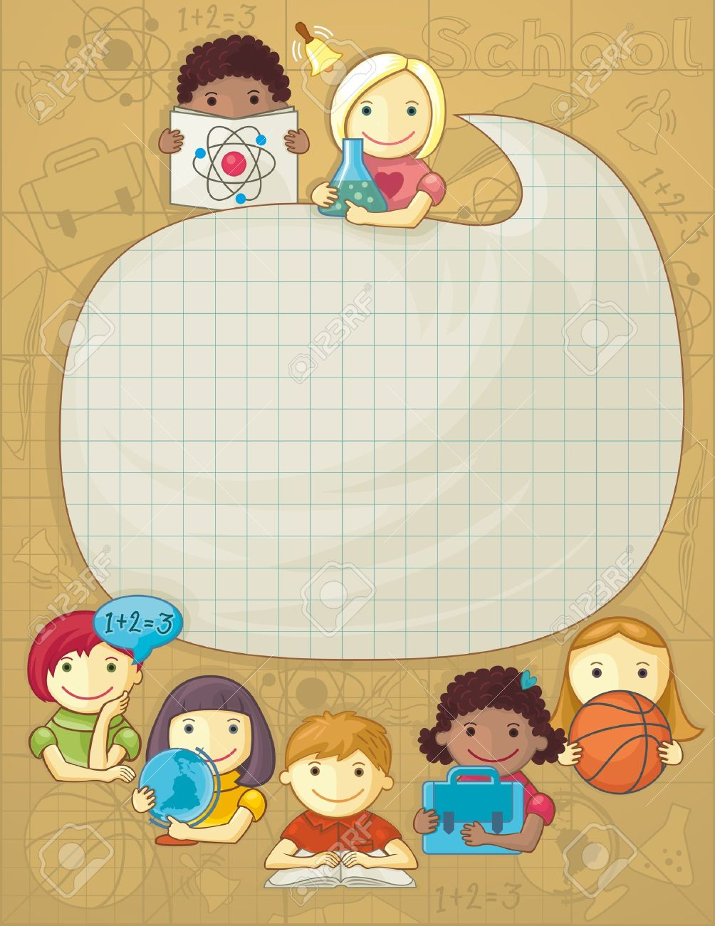 Illustration with frame for your text and group of cute school children Stock Vector - 21176446