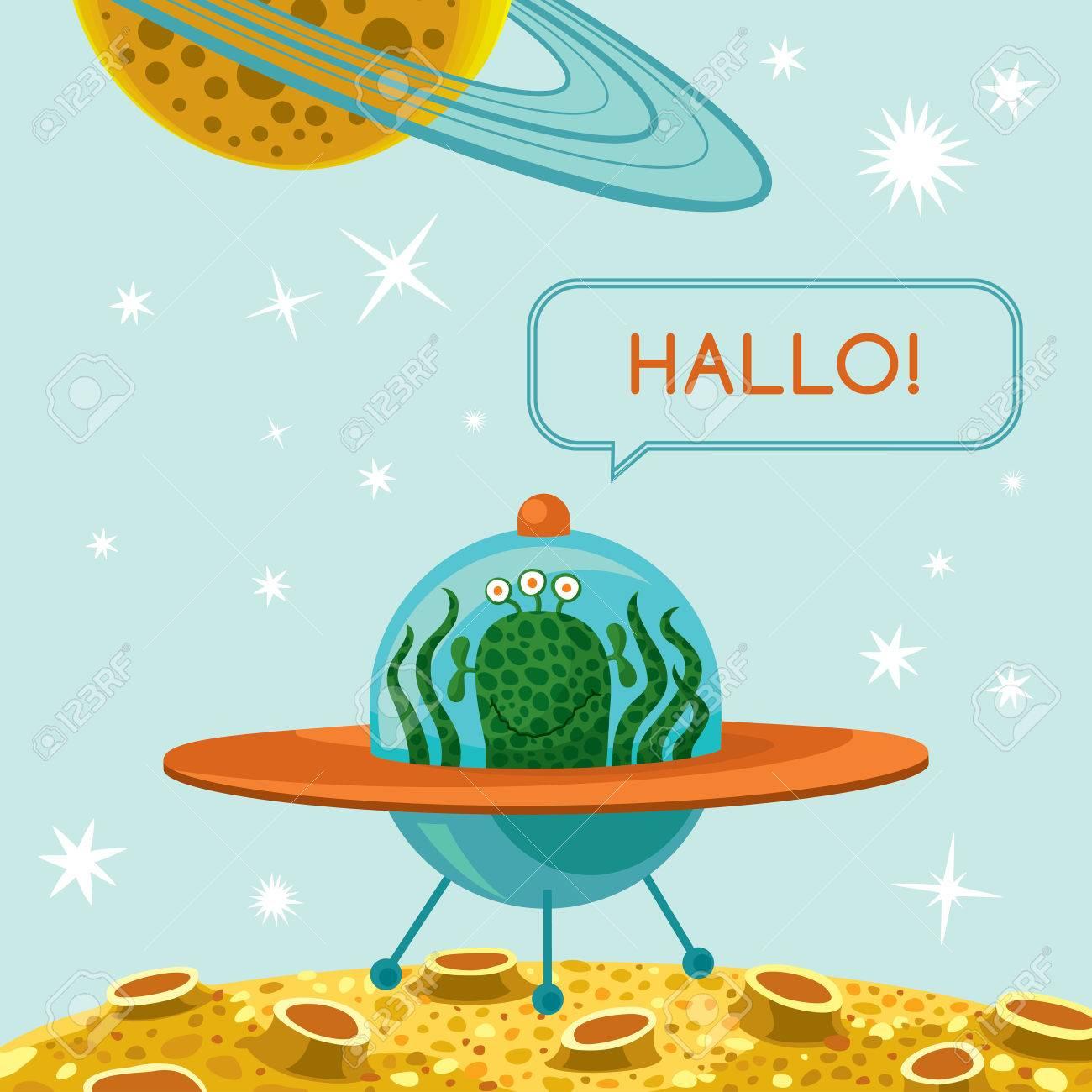 ベクトル イラストかわいい幸せエイリアン宇宙船テキスト ハロウィンでの