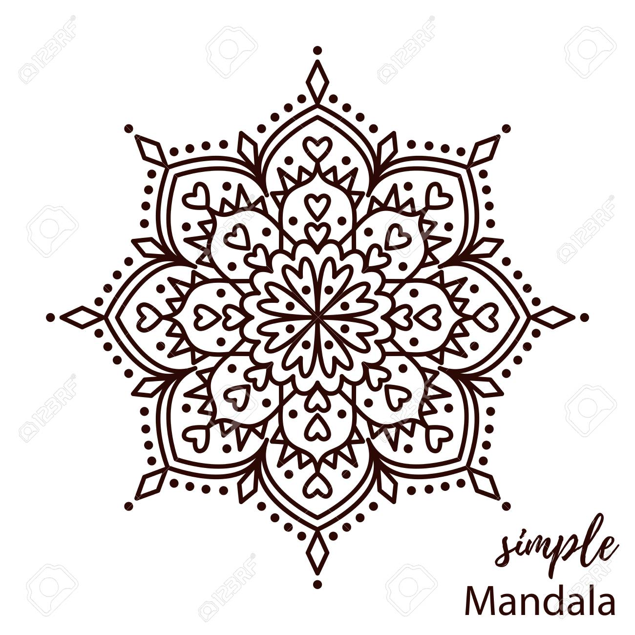 Cute Simple Mandala Coloring Page Royalty Free Cliparts, Vectors ...