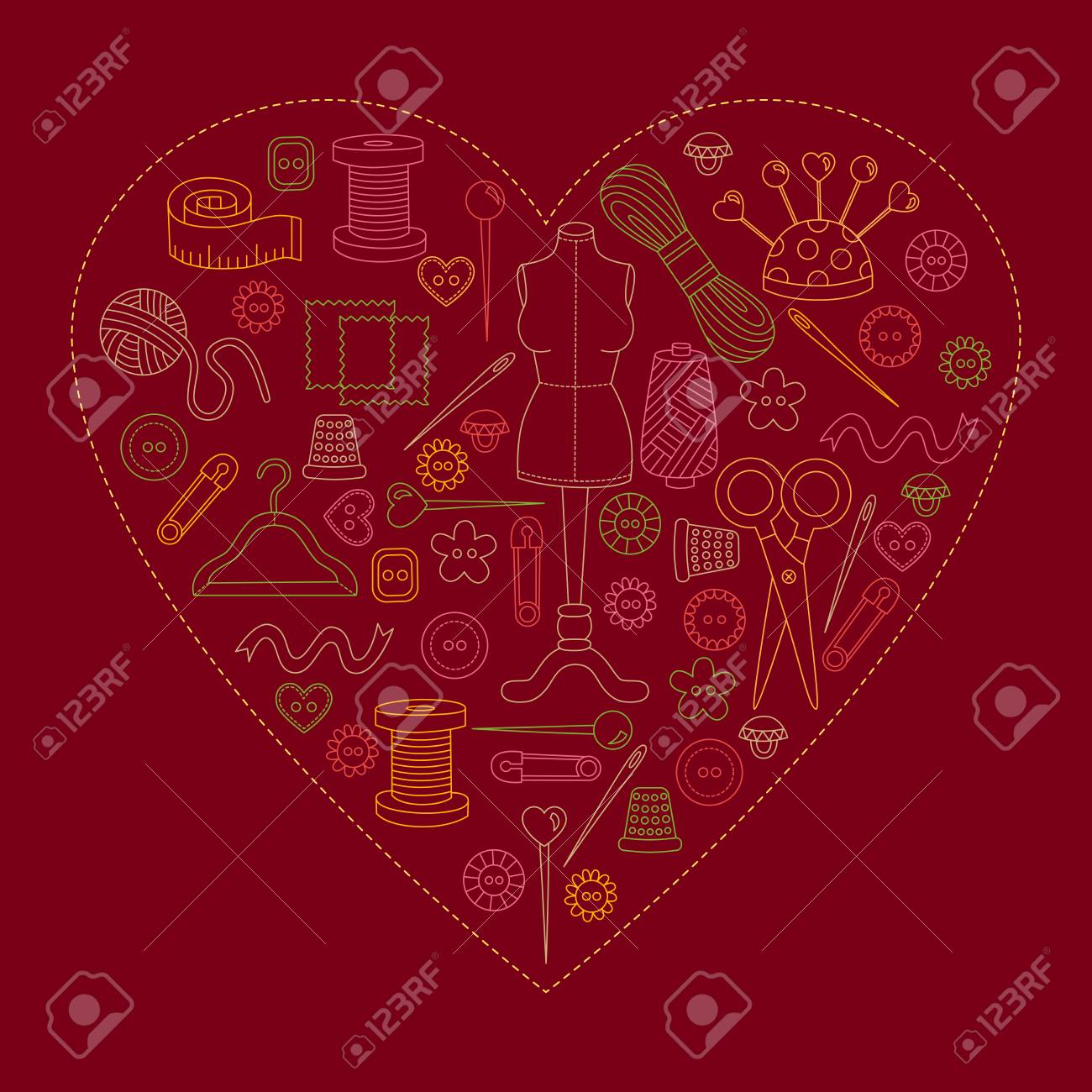 Nähen Hand Set Werkzeuge Symbole Doodle Herz Dekorative Vektor Set