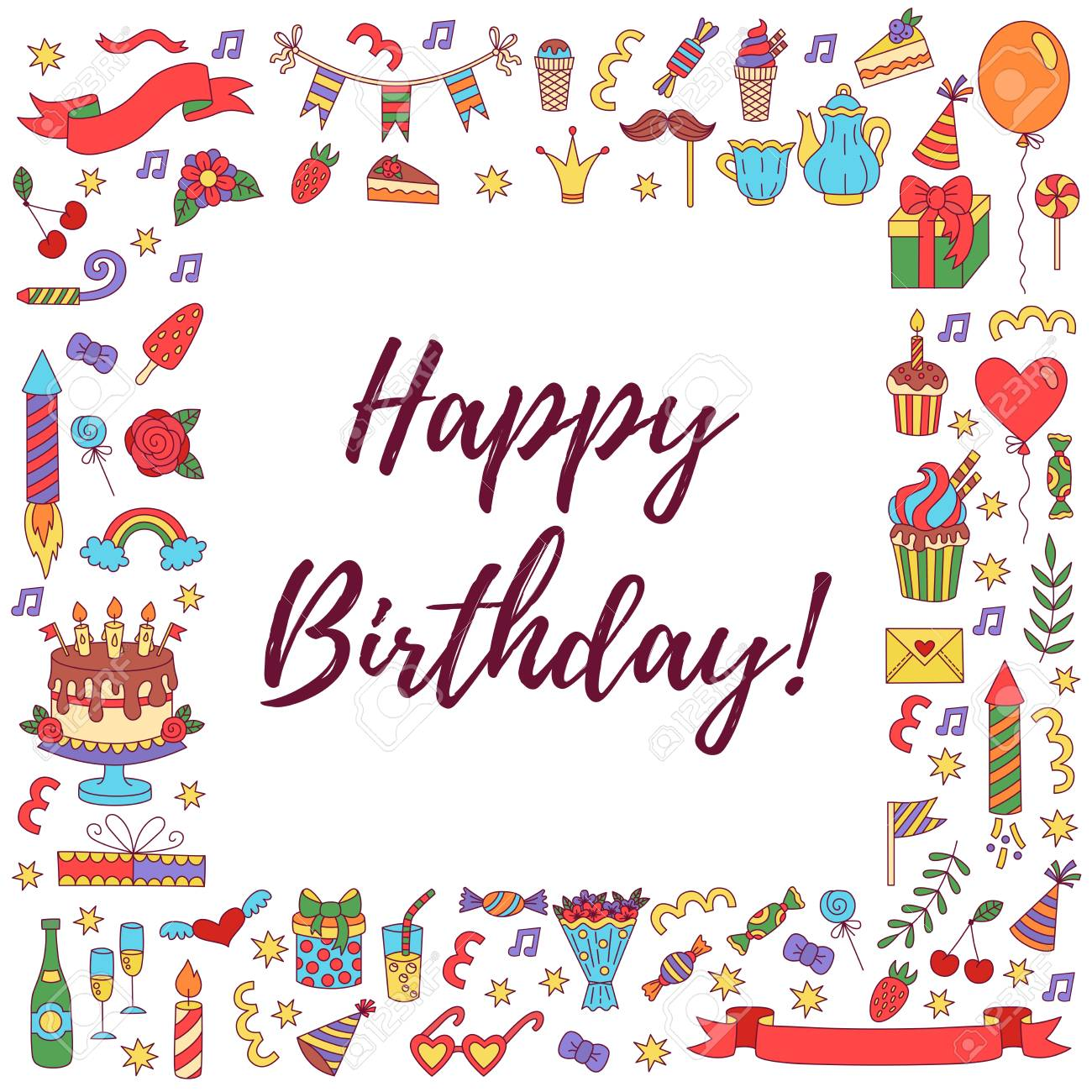 Birthday party doodle square border greeting card template