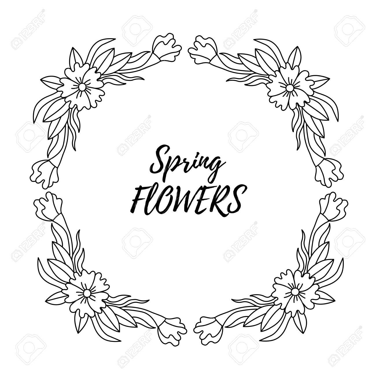 Doodle Floral Flower Wreath Decorative Vector Border Line Frame