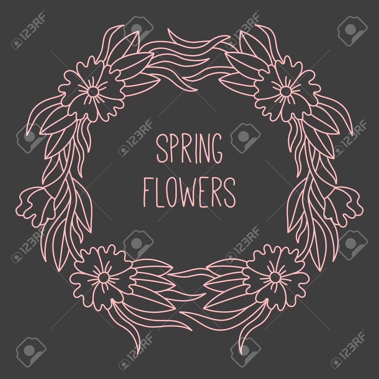 Flower Floral Line Doodle Vector Frame Decorative Border Template ...