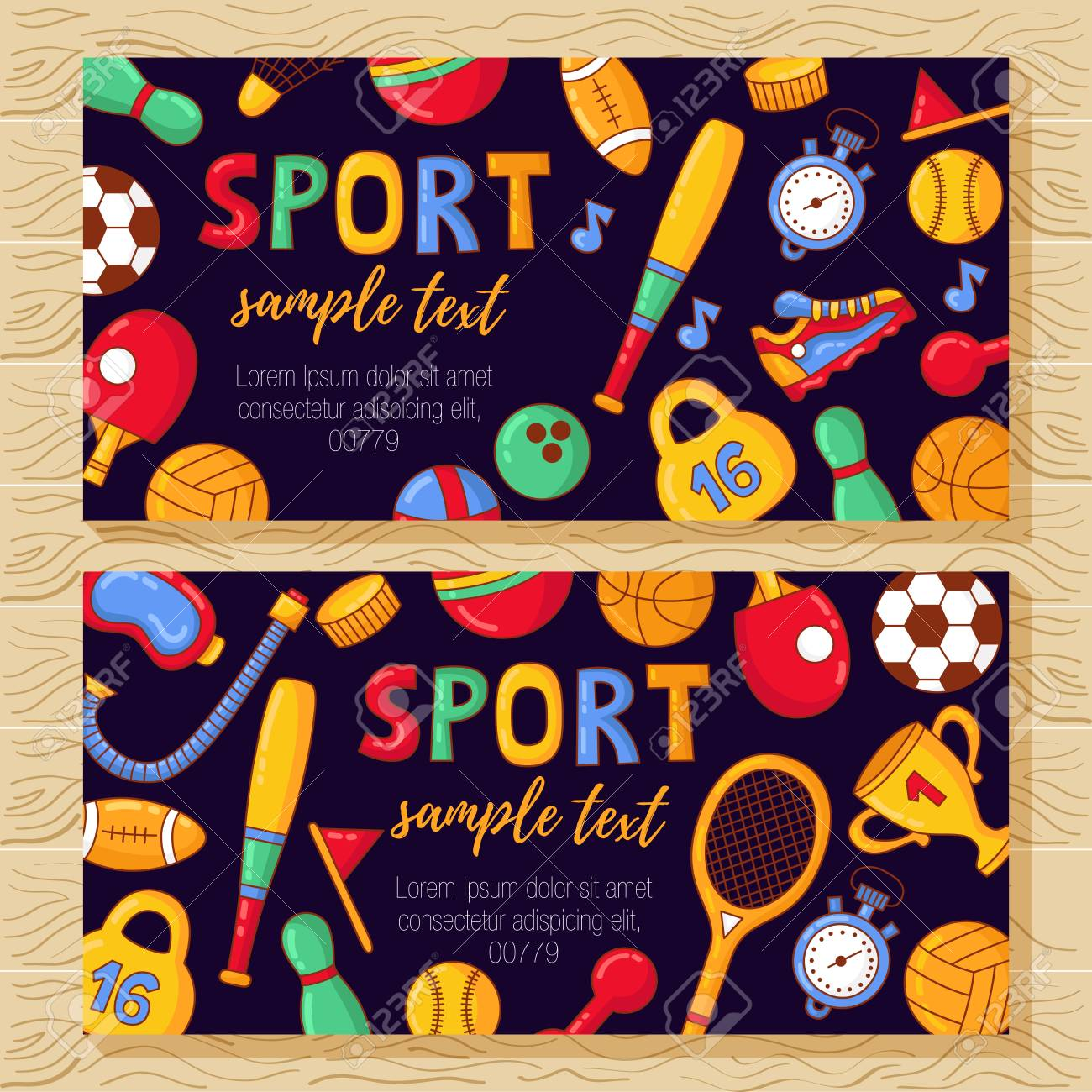 sport banners colorful cute templates with fitness doodle icons